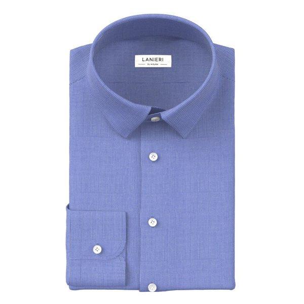 Camicia Albini Quattro Stagioni Pied de Poule Azzurro