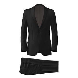 Suit Black Wool Silk