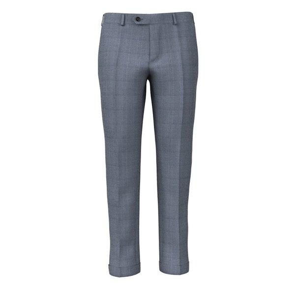 Pantalone Lanificio Ermenegildo Zegna Quattro Stagioni Principe di Galles Blu Chiaro