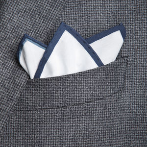 White Blue Pocket square Fabric produced by  Lanieri - Made in Italy