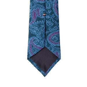 Cravatta Blu Paisley Seta Tessuto prodotto da  Lanieri - Made in Italy
