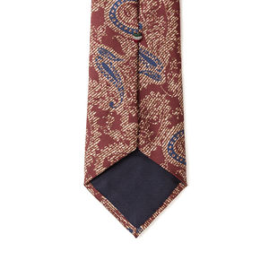 Brown Paisley Silk Necktie Fabric produced by  Lanieri - Made in Italy