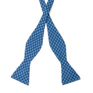 Papillon Pied de Poule Blu Seta Tessuto prodotto da  Lanieri - Made in Italy