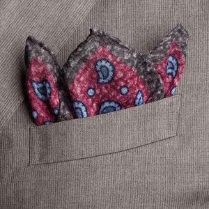 Pochette Boteh Rossa Lana Tessuto prodotto da  Lanieri - Made in Italy