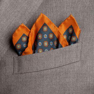 Pochette Roma Petrolio Seta Tessuto prodotto da  Lanieri - Made in Italy