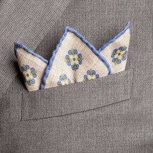 Pochette costume Turin Bleu Laine Tissu fabriqué par  Lanieri - Made in Italy