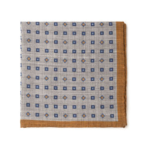 Check Blue Wool Pocket square Fabric produced by  Lanieri - Made in Italy