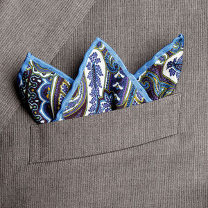 Paisley Blue Silk Pocket square Fabric produced by  Lanieri - Made in Italy