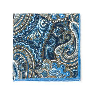 Pochette Paisley Grigia Seta Tessuto prodotto da  Lanieri