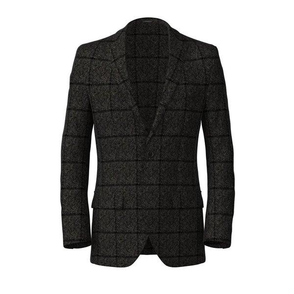 Grey Melange Ocercheck Blazer Fabric produced by  Drago