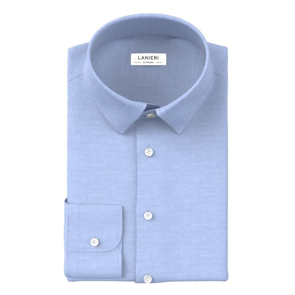 Comfort Light Blue Shirt Fabric produced by  Ibieffe