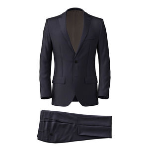 Midnight Blue Pinstripe Suit Fabric produced by  Reda