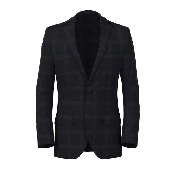 Blue Macro Overcheck Blazer Fabric produced by  Lanificio Subalpino