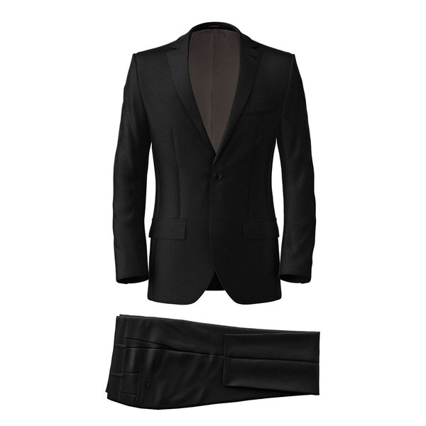 Black Wool Silk Suit Fabric produced by  Tallia Delfino