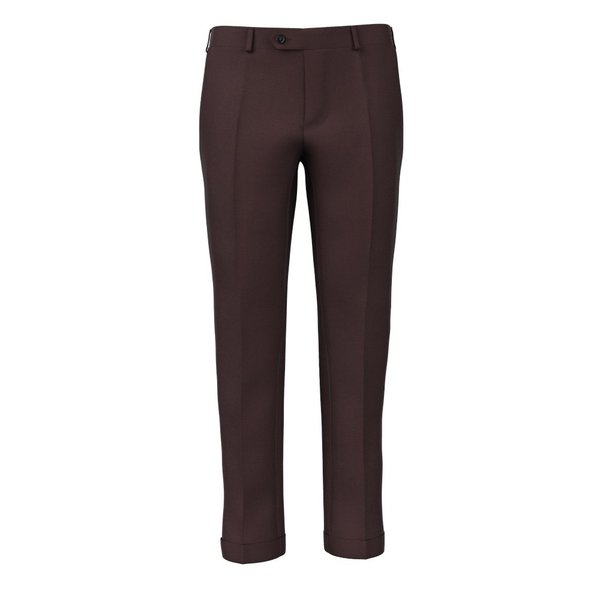 Burgundy Satin Trousers Fabric produced by  Lanificio Zignone