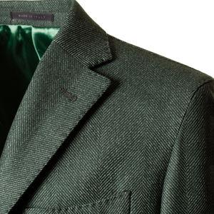 Cappotto Traveller Verde Macro Spigato Tessuto prodotto da  Tessitura di Quaregna