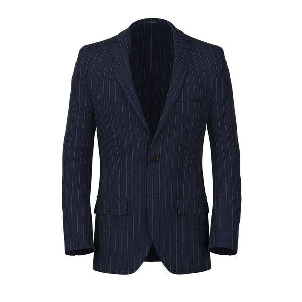 Blazer Blu Gessato Flanella Tessuto prodotto da  Vitale Barberis Canonico