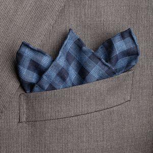 Pochette Blu Quadri Tessuto prodotto da  Lanieri