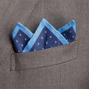 Pochette Pois Blu Tessuto prodotto da  Lanieri