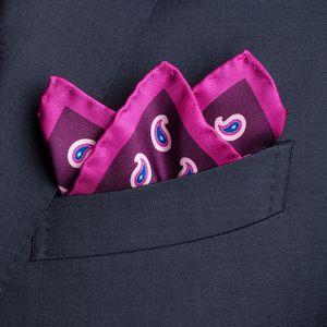 Pochette Paisley Viola Tessuto prodotto da  Lanieri