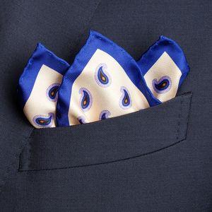 Pochette Paisley Crema Tessuto prodotto da  Lanieri