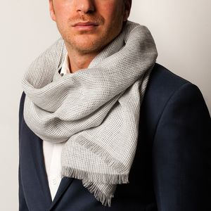 Herrinbone Grey Scarf Fabric produced by  MaAlBi