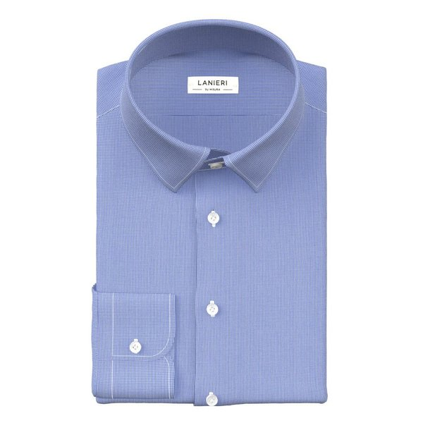 Sky Blue Microdesign Shirt Fabric produced by  Grandi & Rubinelli