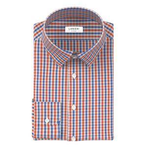 Orange Blue Check Shirt Fabric produced by  Albini
