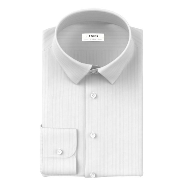 Camicia Cerimonia Bianca Stripe Design Tessuto prodotto da  Albini