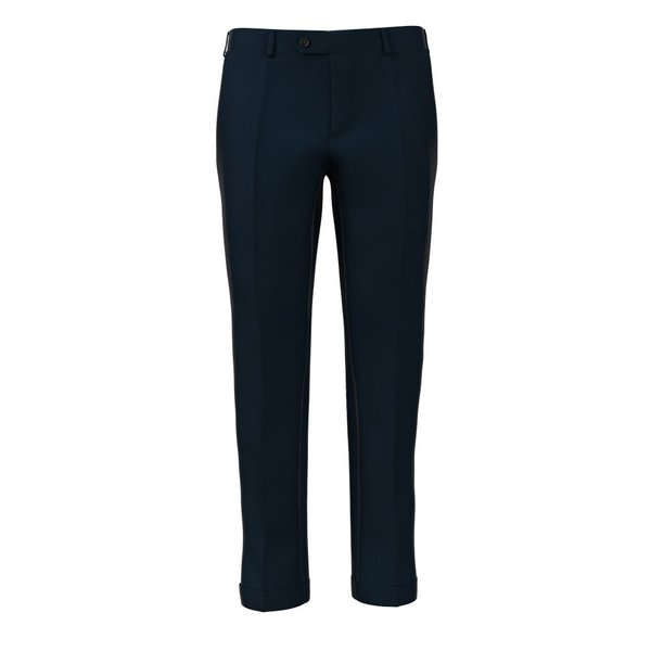 Blue Microdesign Trousers Fabric produced by  Reda