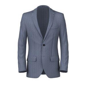 Midnight Blue Herringbone Blazer Fabric produced by  Reda