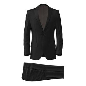 Black Wool Silk Suit Fabric produced by  Tallia Delfino