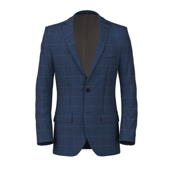 Blue Flannel Overcheck Jacket Fabric produced by  Drago