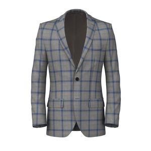 Linen Silk Grey Check Jacket Fabric produced by  Loro Piana