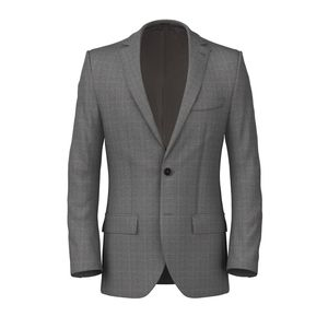 Grey Check Sharkskin Jacket Fabric produced by  Reda