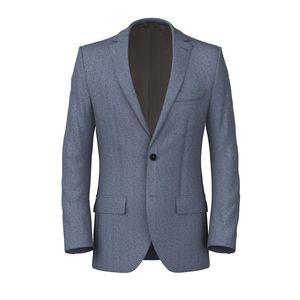 Midnight Blue Herringbone Jacket Fabric produced by  Reda