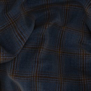 Blue Brown Overcheck Jacket Fabric produced by  Carlo Barbera