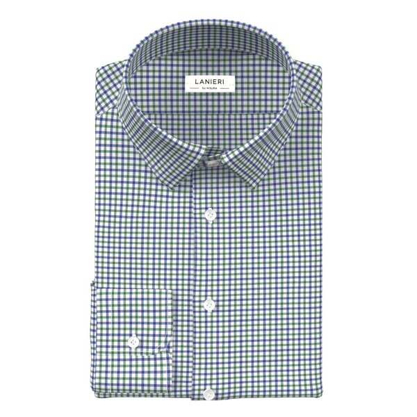 Camicia Blu Verde a Quadri Tessuto prodotto da  Albini