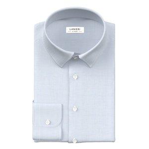 Camicia Azzurra Cotone Lino Tessuto prodotto da  Albini
