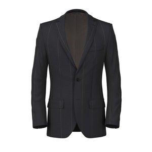Grey Macro Stripe Jacket Fabric produced by  Lanificio Subalpino