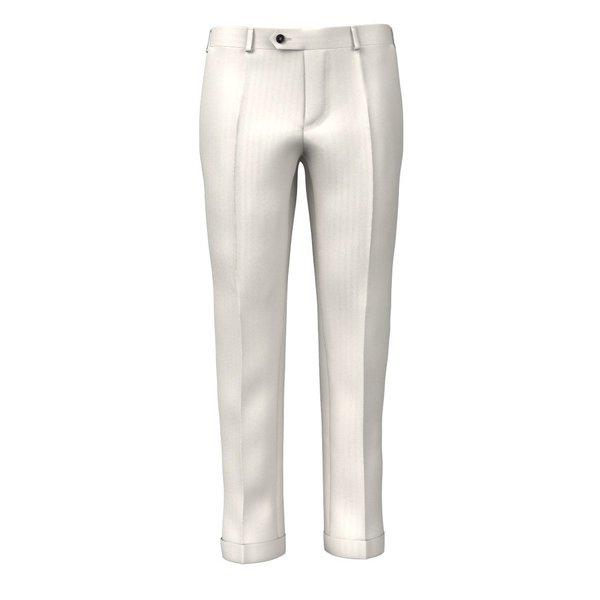 Pantaloni Eco Bianco Spigati Tessuto prodotto da  Lanificio Subalpino