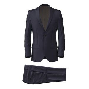 Navy Blue Wool Silk Suit Fabric produced by  Tallia Delfino