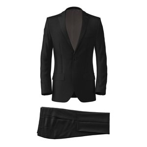 Costume Noir Laine Soie Tissu fabriqué par  Tallia di Delfino