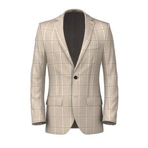 Beige Overcheck Jacket Fabric produced by  Vitale Barberis Canonico