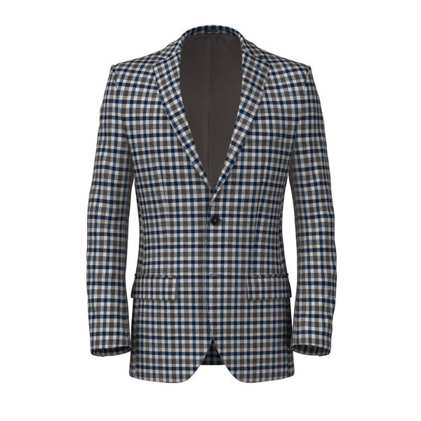 Blue Beige Check Jacket Fabric produced by  Vitale Barberis Canonico
