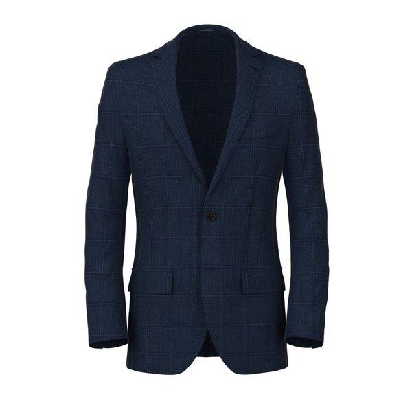 Blazer Lino Seta Blu Quadri Tessuto prodotto da  Lanificio Ermenegildo Zegna