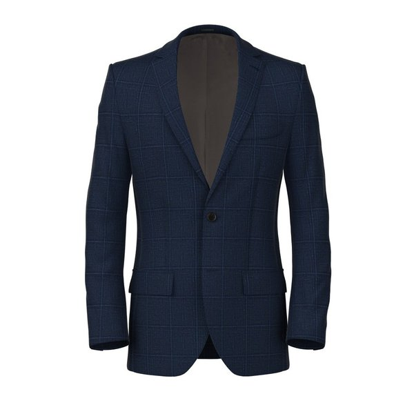Giacca Lino Seta Blu Quadri Tessuto prodotto da  Lanificio Ermenegildo Zegna