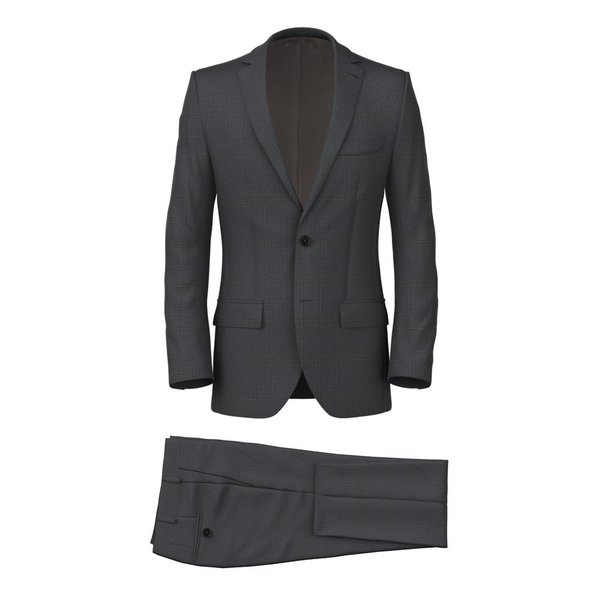 Dark Grey Overcheck Suit Fabric produced by  Lanificio Ermenegildo Zegna