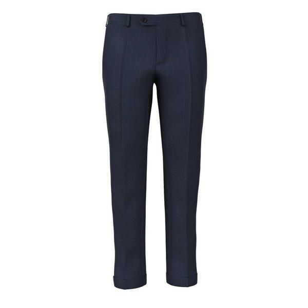 Pantaloni Blu Notte Gessati Tessuto prodotto da  Lanificio Ermenegildo Zegna