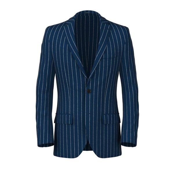 Blazer Gessato Blu Lana Seta Lino Tessuto prodotto da  Lanificio Ermenegildo Zegna